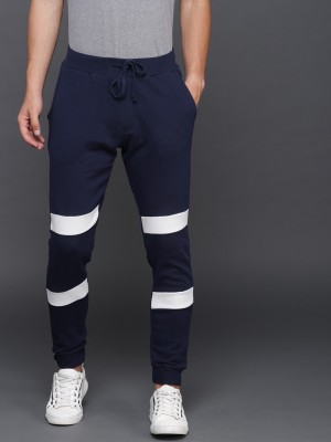 WROGN Solid Men Dark Blue Track Pants at flipkart