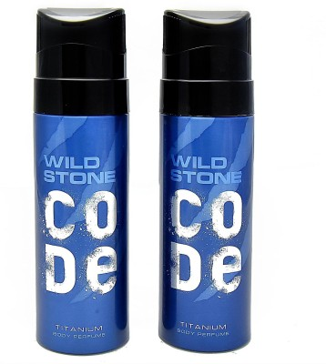 Wild Stone Code Titanium Deodorant Spray  -  For Men(240 ml, Pack of 2)
