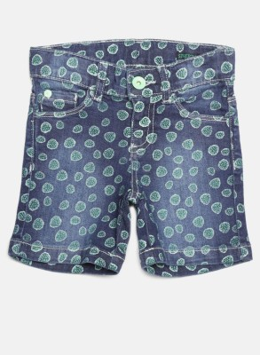 United Colors of Benetton Short For Girls Casual Printed Cotton Blend(Blue, Pack of 1)