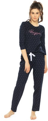 ZEYO Women Geometric Print Blue Top & Pyjama Set
