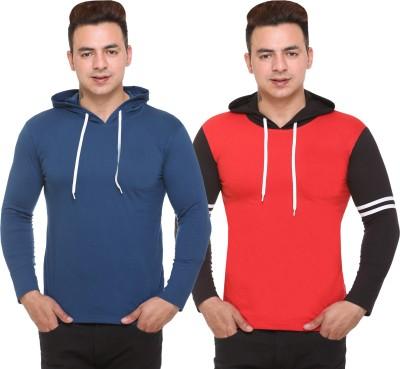 Shaun Solid, Color Block Men Hooded Neck Blue, Black, Red T-Shirt(Pack of 2)