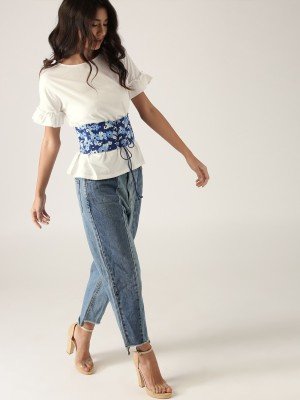 United Colors of Benetton Casual Bell Sleeve Printed Women White, Blue Top United Colors of Benetton Women's Tops