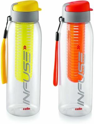 Cello Infuse Plastic Water Bottle Set, 800ml, Set of 2, Yellow/Orange 800 ml Bottle(Pack of 2, Multicolor)