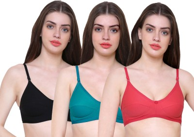 Teeny Bopper Deluxe Women, Girls Full Coverage Non Padded Bra(Green, Black, Pink)