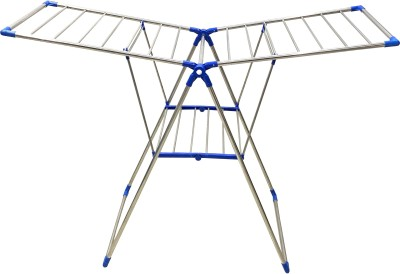 TNC MADE IN INDIA PURE STAINLESS STEEL FOLDABLE BLUE BUTTERFLY FLOOR CLOTHES DRYING RACK Stainless Steel Floor Cloth Dryer Stand(Blue)