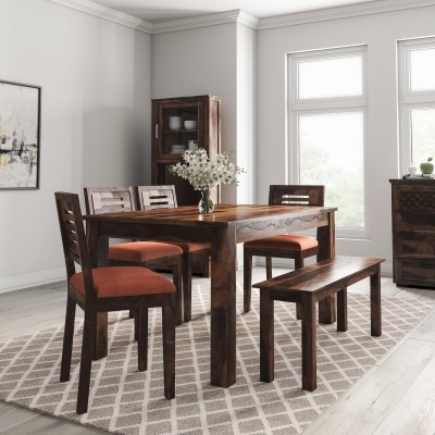 Flipkart Perfect Homes PureWood Sheesham 6 Seater Dining Set with Bench(Finish Color - Teak)
