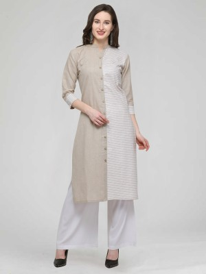 Divastri Women Striped, Woven Design Straight Kurta(White, Beige)