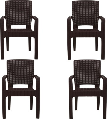 AVRO furniture PLATINUM RATTAN CHAIR (Set Of 4 Chairs) WITH 3 YEAR GUARANTEE Plastic Outdoor Chair(Brown, Set of 4)