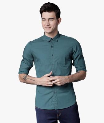 Highlander Men Solid Casual Dark Green Shirt