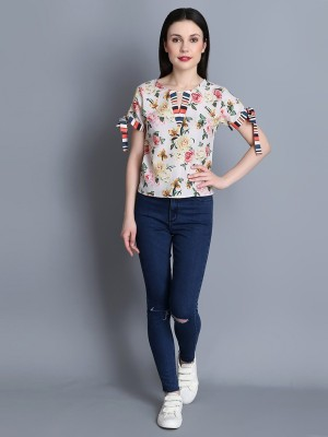 BuyNewTrend Casual Regular Sleeve Printed Women Multicolor Top BuyNewTrend Women's Tops