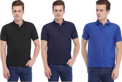 K2Creations Solid, Self Design Men Polo Neck Blue, Black, Dark Blue T-Shirt(Pack of 3)