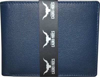 CADROHIDES Men Casual Blue Genuine Leather Wallet(5 Card Slots)