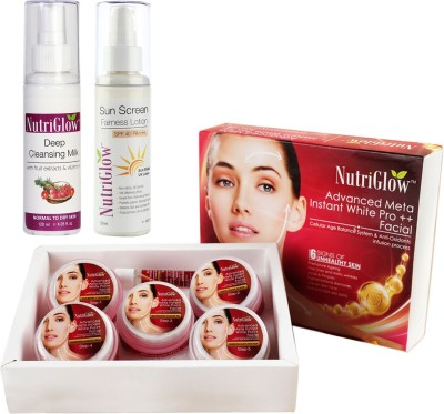 NutriGlow Advanced Meta Facial Kit,Cleansing Milk and Sun Screen Lotion.(3 Items in the set)