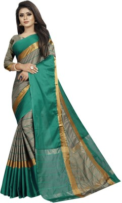 SNH Export Striped, Solid Fashion Silk Blend, Cotton Silk, Art Silk Saree(Multicolor)