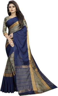 SNH Export Striped, Solid Fashion Silk Blend, Cotton Silk, Art Silk Saree(Blue, Beige)