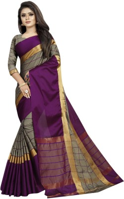SNH Export Striped, Solid Fashion Silk Blend, Cotton Silk, Art Silk Saree(Magenta, Beige)