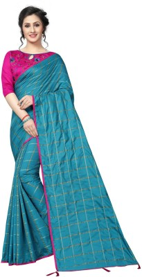 Fabwomen Solid Fashion Cotton Blend, Poly Silk Saree(Purple)