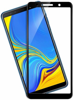 BRIGHTRON Edge To Edge Tempered Glass for A7 Screen Protector 9H Full Glue Edge to Edge Glass with Curved Edges 7D Tempered Glass for Samsung A7 (2018) BLACK(Pack of 1)