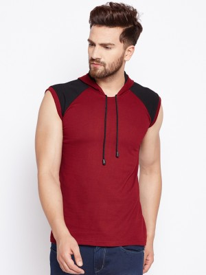SHAPPHR Color Block Men Hooded Neck Red, Black T-Shirt