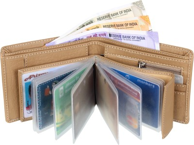 SAMTROH Men Casual Beige Artificial Leather Wallet(8 Card Slots)