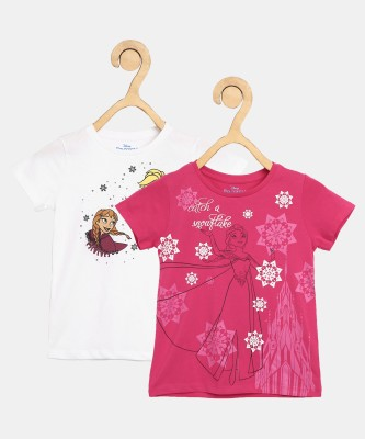Miss & Chief Girls Graphic Print Cotton Blend T Shirt(Multicolor, Pack of 2) at flipkart