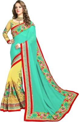 Aika Embroidered Fashion Cotton Blend Saree(Yellow)