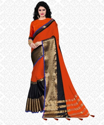 Striped Fashion Tussar Silk, Cotton Blend Saree