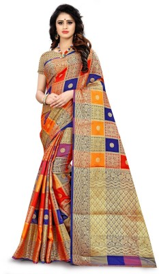 RIVANA Embellished Patola Jacquard, Silk Blend, Pure Silk, Cotton Blend, Cotton Silk, Raw Silk Saree(Red, Blue, Yellow)