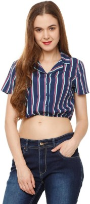 People Women Striped Casual Dark Blue Shirt