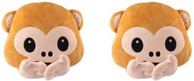 Deals India Speak No Evil Monkey Smiley Cushion combo  set of 2  40cm   40 cm Brown Deals India Soft Toys