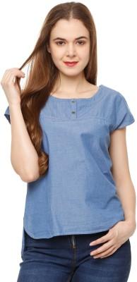 People Casual Regular Sleeve Solid Women Blue Top