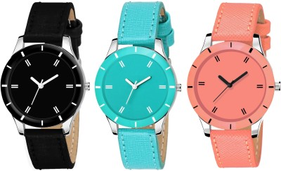 VeBNoR Black, Orange and Skyblue Colour Watch Combo Analog Watch  - For Girls
