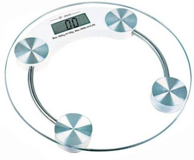 Poblic Personal Health Human Body Weight Machine 180Kg 6mm Round Glass Weighing Scale(Transparent)