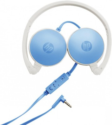 HP H2800 Wired Headset with Mic(White & Blue, Over the Ear) 1