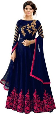 Mohnish Fashion Anarkali Gown(Blue, Pink)