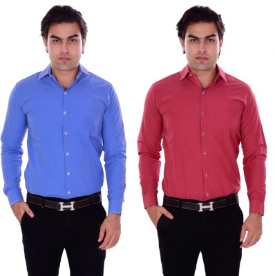 the rich clothing Men Solid Formal Multicolor Shirt(Pack of 2)