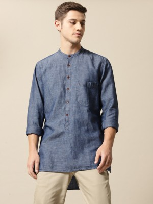 Mr Bowerbird Men Solid Straight Kurta(Blue) at flipkart