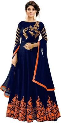 Active Embroidered Semi Stitched Lehenga, Choli and Dupatta Set(Blue, Orange)