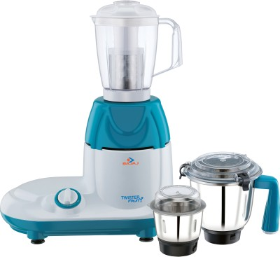 Bajaj Twister Fruity 750 W Mixer Grinder(White, Teal, 3 Jars)