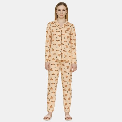 Zivame Women Printed Orange Shirt & Pyjama set at flipkart
