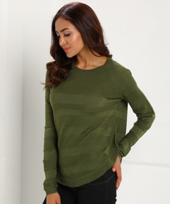 Only Round Neck Woven Women Pullover at flipkart