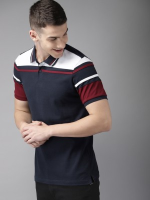 HERE&NOW Color Block Men Polo Neck Dark Blue, White, Maroon T-Shirt