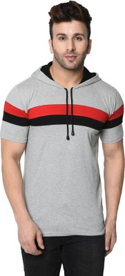 FASHION AERO Solid Men Hooded Neck Grey, Multicolor T-Shirt