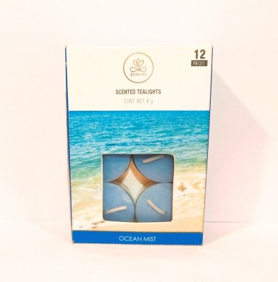 Live In Bliss Ocean Mist Tea-light (Pack of 12) Candle(Blue, Pack of 12)