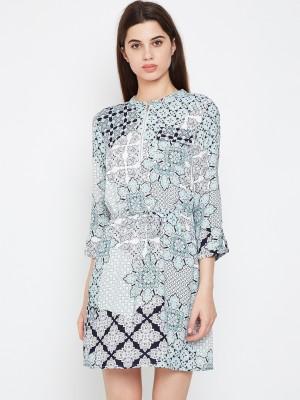 Oxolloxo Women A-line Blue, Grey Dress