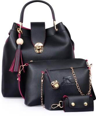 Speed X Fashion Women Black Hand-held Bag(Pack of: 4)