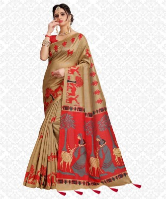Divastri Printed, Animal Print Fashion Cotton Blend Saree(Red)