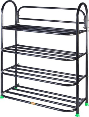 Ebee Metal Collapsible Shoe Stand(Maroon, 4 Shelves)