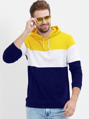 LEWEL Color Block Men Hooded Neck Yellow, White, Blue T-Shirt