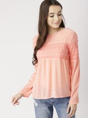 Dressberry Casual Regular Sleeve Solid Women Orange Top